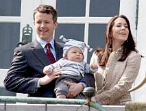 Crown Prince Frederik, the little prince Christian, and Crown Princess Mary