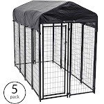 Lucky Dog Uptown Large Outdoor Covered Kennel Heavy Duty Dog Fence Pen (5 Pack) by VM Express