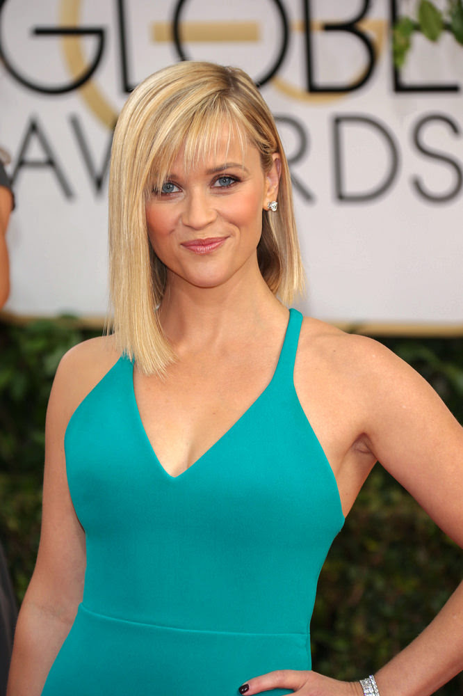 Resse Witherspoon Long Bob with Wispy Fringe and Deep Side Part