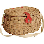 Wald Imports 4098 Willow Picnic Basket with Plaid Fabric Red