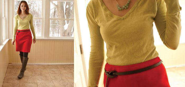lime tomato colorblocking brights colour skirt style blog architecture