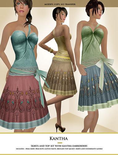 New : Kantha skirt set