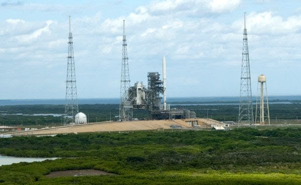 The ARES I-X rocket at Launch Complex 39B...as seen from Launch Complex 39A at NASA's Kennedy Space Center in Florida, on October 20, 2009.