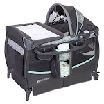 Baby Trend Compact Deluxe II Baby Ziggy Nursery Center Crib with Canopy Toy Bar by VM Express