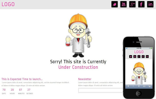 Professor Under Construction Mobile Website Template by w3layouts