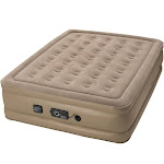 Insta-Bed Raised Inflatable Queen Air Bed Mattress with neverFlat Pump, Beige by VM Express