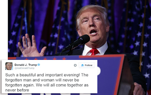Donald Trump's first tweet after winning election recognizes 'forgotten man and woman'