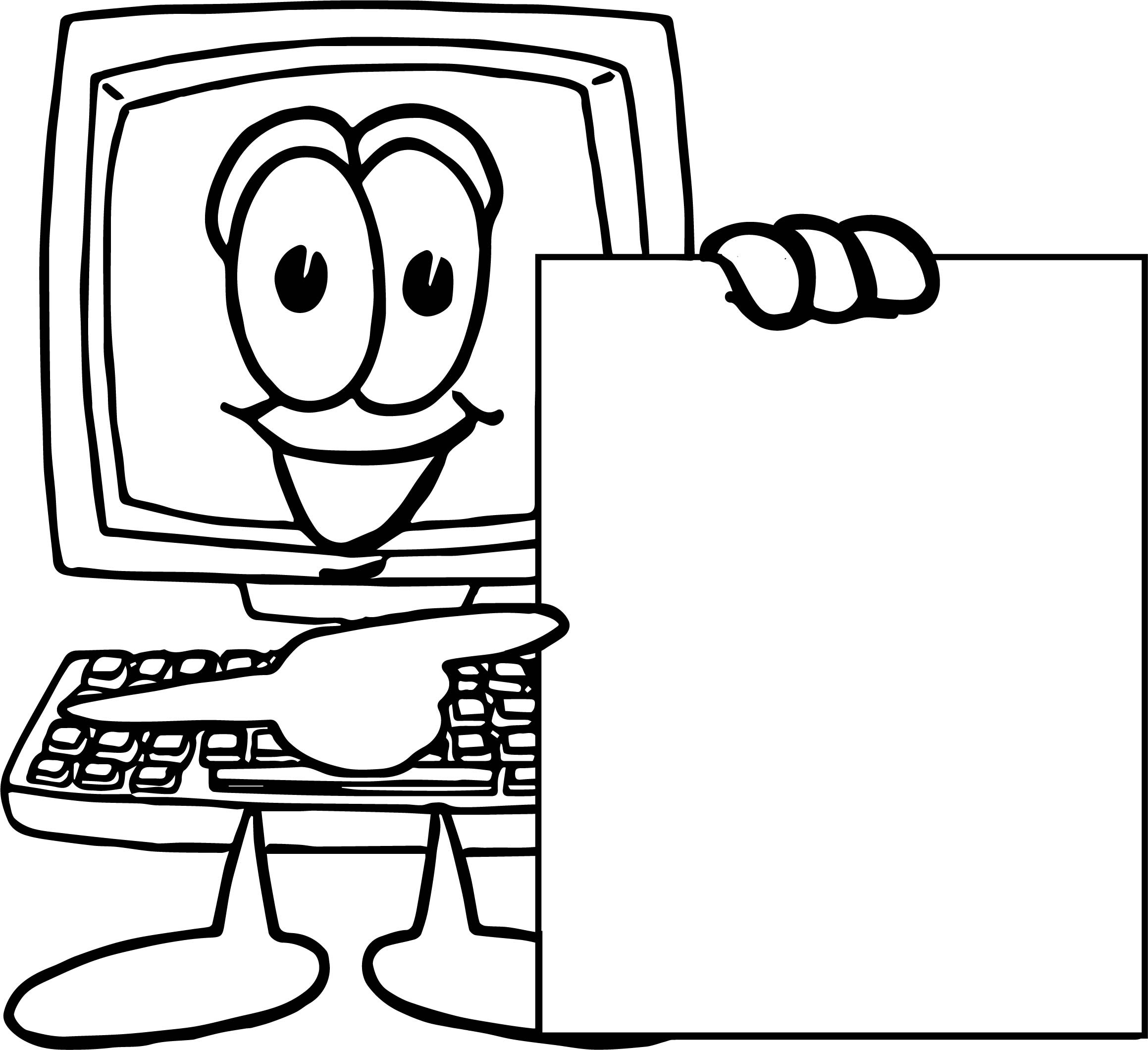 Playing Computer Games Look Blank Page Coloring Page ...