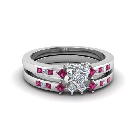 Heart Shaped Kite Style Channel Set Accent Diamond Wedding