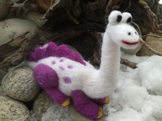 Felt Dinosaur Wool Toy Jurassic art sculpture by MalinaLinART