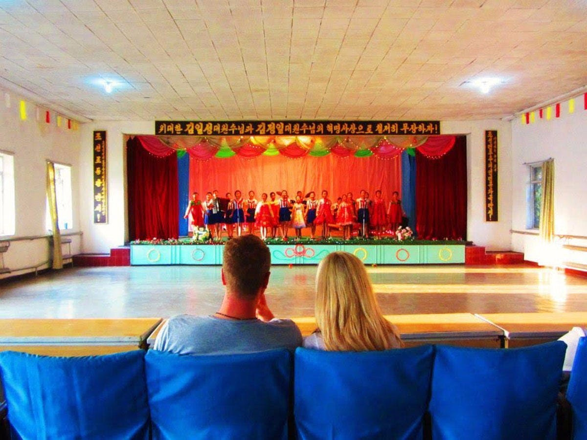 While they were there, the entire school shut down to put on a dance recital for the couple.