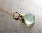 Chalcedony necklace - aqua blue mint chalcedony 14k gold-filled pendant necklace eco-friendly bridesmaid bridal wedding birthday Mother gift - KrisPstudio