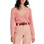 Free People   Cropped V-Neck Sweater   Pink