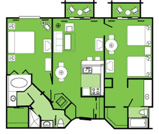 2 Bedroom Disney Beach Club Villas Floor Plan