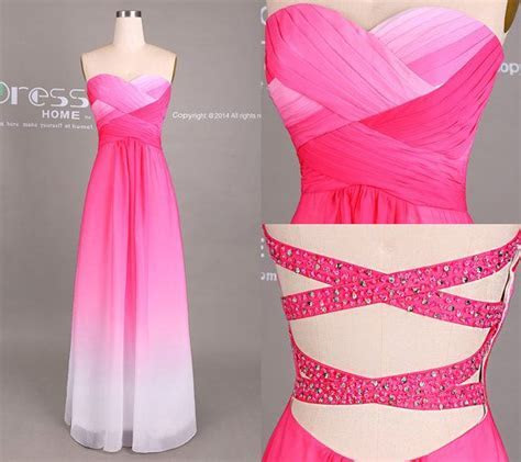 Hot Pink and White Ombre Prom Dress/Sexy Long Prom by