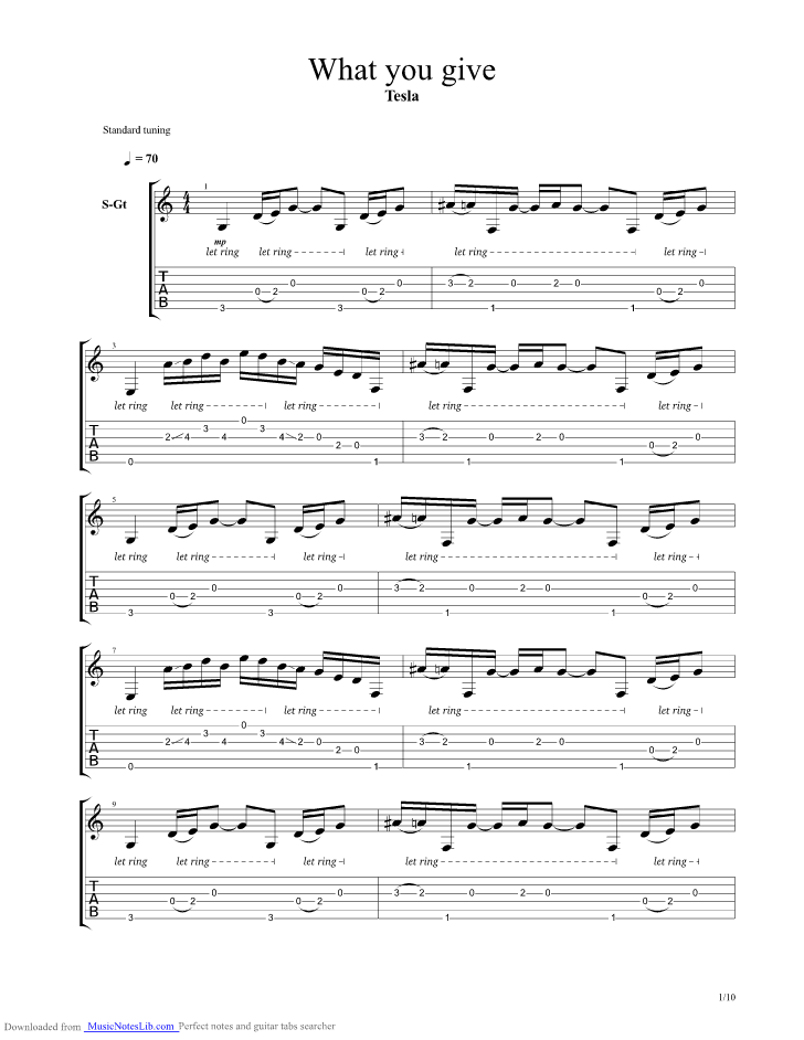 What You Give Guitar Pro Tab By Tesla At Musicnoteslibcom