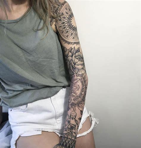 attractive sleeve tattoos women tattooblend