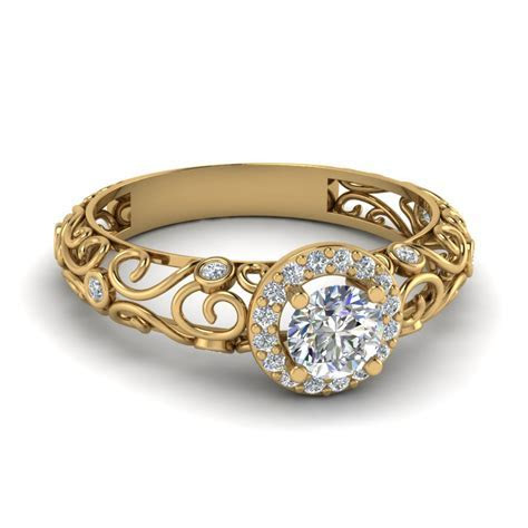 Dome Filigree Halo Vintage Round Diamond Engagement Ring