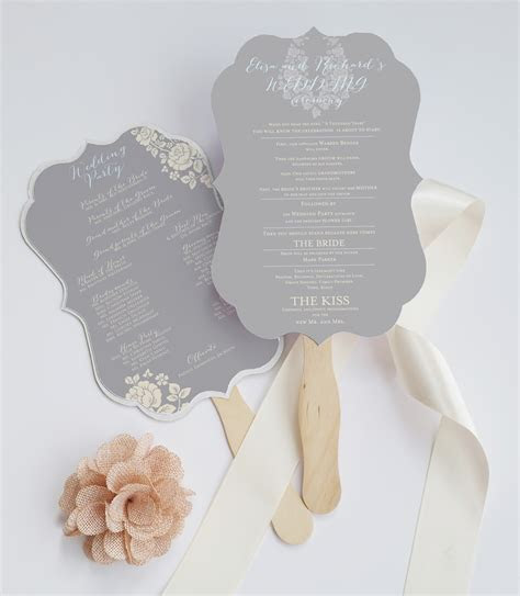 die cut wedding program fan deersfield grey cream