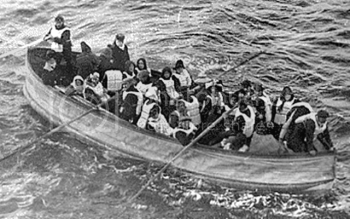 Photograph of Titanic's survivors in a lifeboat.