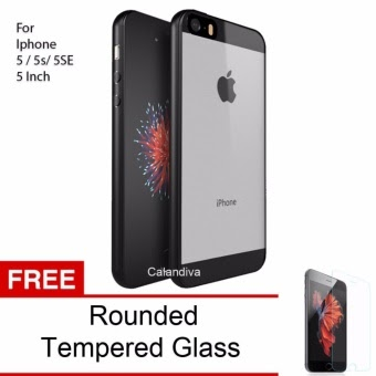 Harga Calandiva Transparent Shockproof Hybrid Premium Quality Grade A Case for Iphone 5 5s 5 SE 4.0 Inch Hitam + Rounded Tempered Glass Online Terbaru - ...
