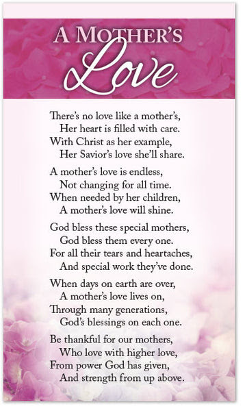 Poetry Card A Mothers Love Moments With The Book
