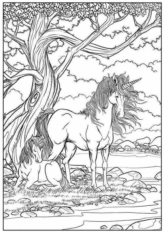 Mom And Baby Unicorn Coloring Pages Coloring And Drawing