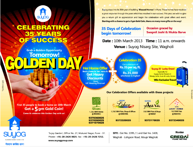 Suyog Group Celebration Offer for Nisarg & Lucky Homes at Warje, Leher at Kondhwa & Aura at Warje begins on 10th March 2013