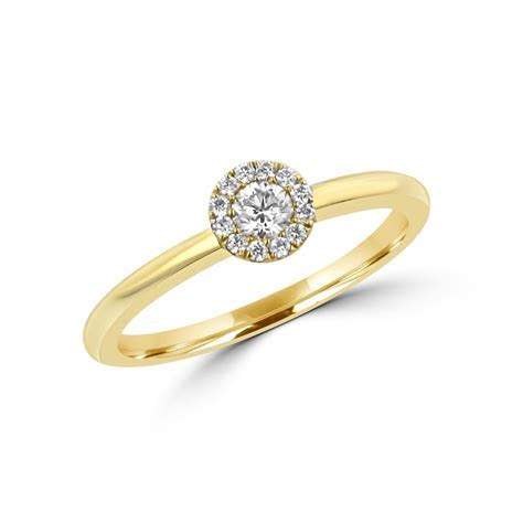 18ct Yellow Gold 0.14ct Round Diamond Halo Cluster Ring