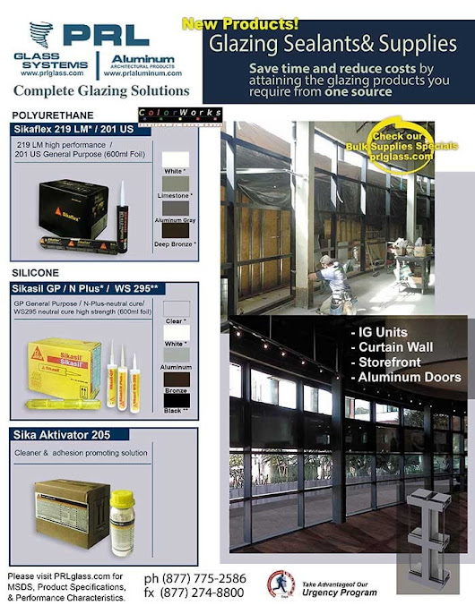 Glazing Sealants and Supplies | PRL Architectural Glass and Metal News