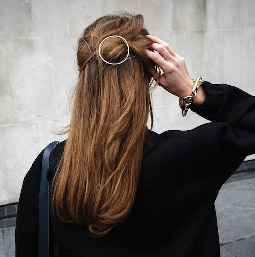 Le Fashion Blog 15 Ways To Wear Round Circle Hair Clip Pin Accessory Hairstyle Half Up Do Bun Chunky Chain Bracelet Coat Via Maison Ellis