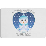 Personalized My First Christmas Snowbaby Blue Placemat Set of 4 Placemats