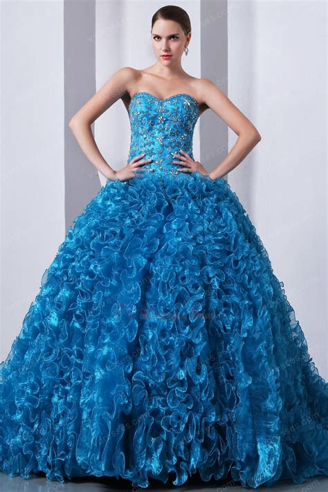 ruffles ball gown blue  quinceanera dress  winter party