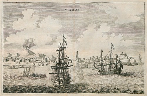 tri-mast 17th c. naval ships and Chinese junks in Macau harbour