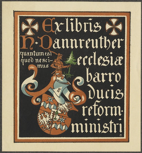 bookplate of solid blocked colourful illustration including armorial shield