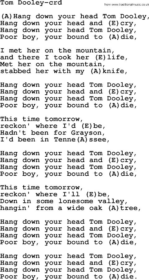 Hang Down Your Head Tom Dooley Lyrics And Chords