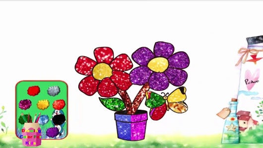 How To Draw A Flower Vase Drawing Colors For Kids