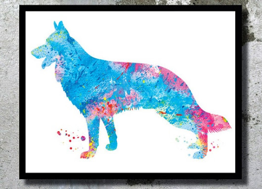 German Shepherd Watercolor Print Deutscher by BogiArtPrint on Etsy
