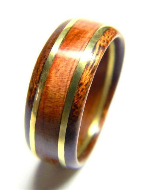 Unique Men's Wood Ring Cedar And Brass, Wedding Band