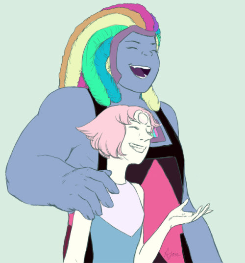 silverscribe87 said: Bismuth holding a happy/laughing Pearl during the Rebellion Era maybe? Or what ever you like involving the two, I just wanna see them together. :) Answer: Sorry this is so late...