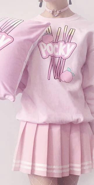 sweater pink anime kawaii pastel food girl