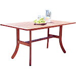 """59"""" Brown Wood Rectangular Outdoor Furniture Patio Dining Table with Curvy Legs by Christmas Central"""