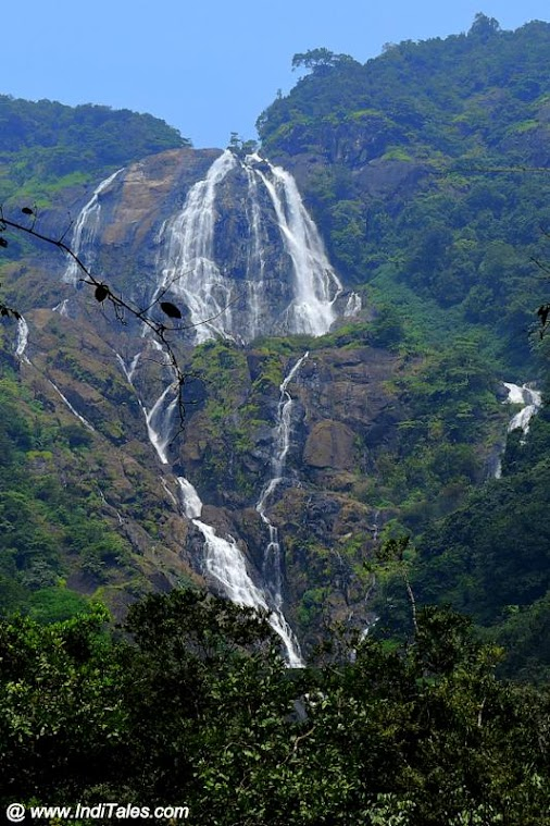 First View of Dudhsagar Falls - Trip to Most Beautiful Waterfall of India read more  #travel #travelblog...