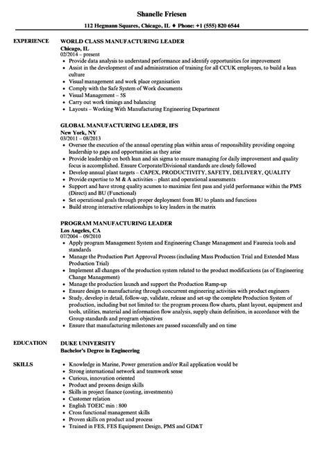 Manufacturing Leader Resume Samples | Velvet Jobs