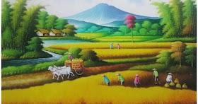 Gambar Pemandangan Gunung Lukisan