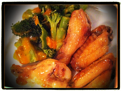 wings and broccoli