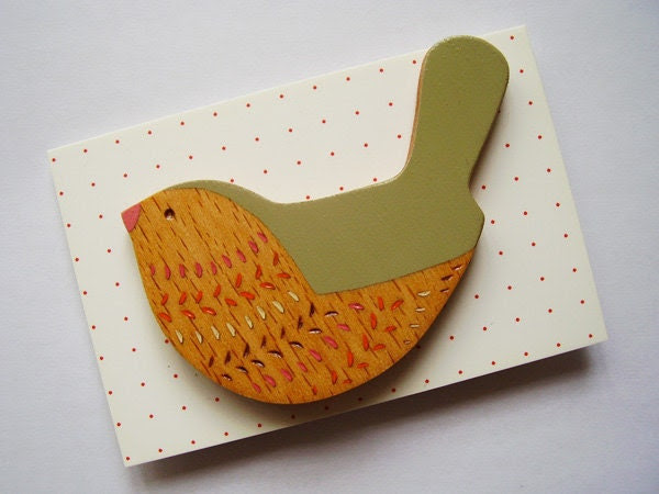 Wooden Bird Brooch - Wagtail