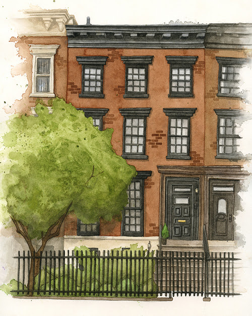 New York Brownstone Watercolour Portrait
