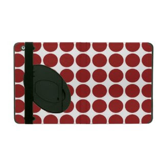 Red Polka Dots on White iPad Folio Case