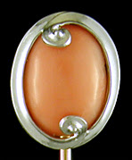 Art Deco coral and platinum stickpin. (J9464)
